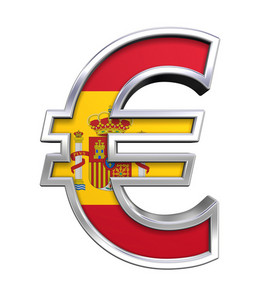 Silver Euro Sign With Spain Flag Isolated On White