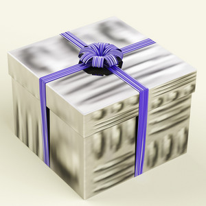 Silver Gift Box With Blue Ribbon As Birthday Present For Man