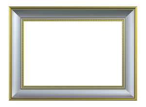 Silver-gold Rectangular Frame Isolated On White Background.