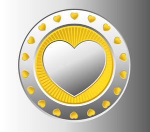 Silver Heart Coin Vector
