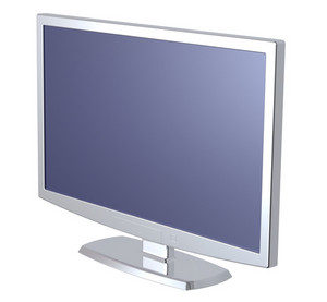 Silver Lcd Tv Monitor On White Background.