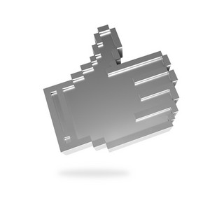 Silver Pixel Hand Showing Thumb