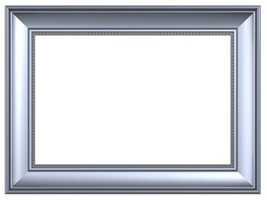 Silver Rectangular Frame Isolated On White Background.