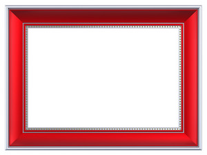 Silver-red Rectangular Frame Isolated On White Background.