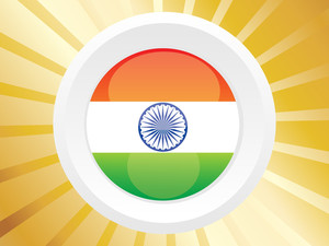 Silver Shield With Indian Flag Over Nice Background