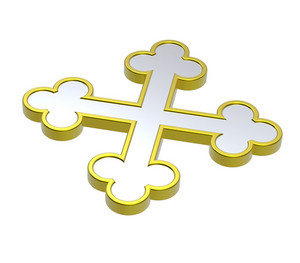 Silver With Gold Frame Heraldic Cross Isolated On White.