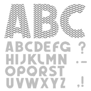 Simple Alphabet With Waves Pattern