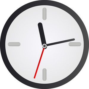 Simple Clock Icon On White Background