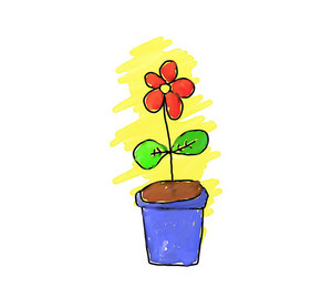 Simple Handmade Drawing Of A Flower Pot