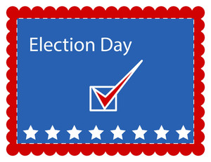 Simple Stamp Style Election Day Vector Illustration