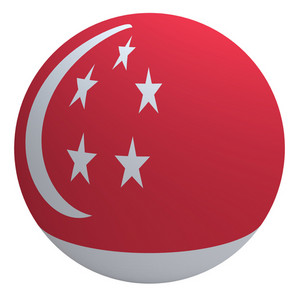 Singapore Flag On The Ball Isolated On White.