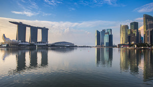Singapore reflection of buildings Marina bay