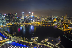 Singapore skyline with topview twilight