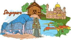 Singapore Vector Doodle