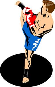 Single Kickboxer Kicking
