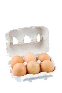 Six Brown Eggs Packed In A Carton Box