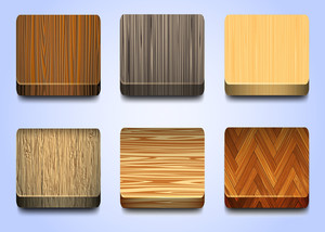 Six Icons With Wooden Texture