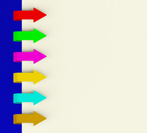 Six Multicolored Arrow Tabs Over Paper For Menu List Or Notes