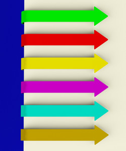 Six Multicolored Long Arrow Tabs Over Paper For Menu List Or Notes