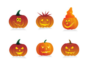 Six Pumpkins With Different Expressions