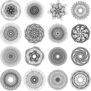 Sixteen Abstract Circle Patterns