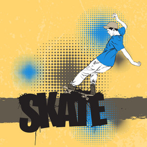 Skateboarder In Action On A Grunge-background. Vector Illustration.