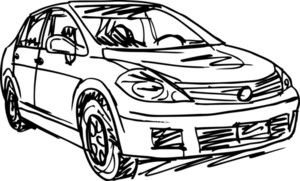 Sketch Of 3 Cars. Vector Illustration