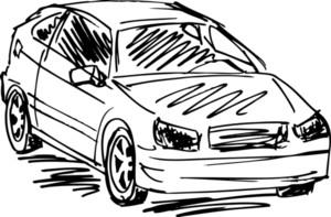 Sketch Of 3 Cars. Vector Illustration