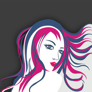 Sketch Of A Beautiful Girl With Colored Hairs