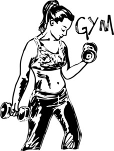 Sketch Of A Woman Working Out At The Gym With Dumbbell Weights. Vector Illustration