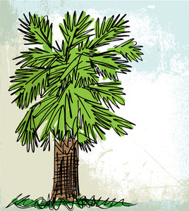 Sketch Of Abstract Palm Tree. Vector Illustration