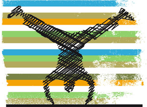 Sketch Of Acrobatics Gymnastic Doing A Handstand. Vector Illustration