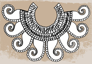 Sketch Of Ancient Necklace. Vector Illustration