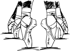 Sketch Of Ballet Dancer's Feet. Vector Illustration