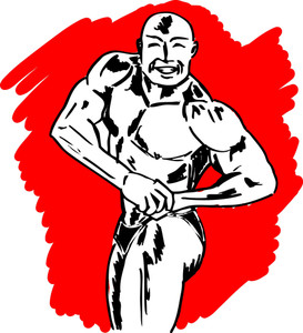 Sketch Of Bodybuilder. Vector Illustration