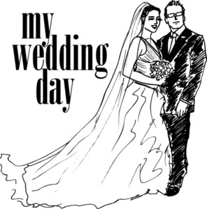 Sketch Of Bride And Groom. Vector Illustration