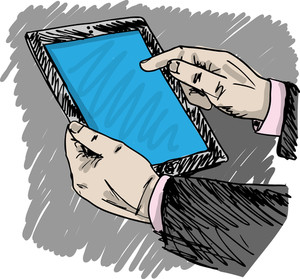 Sketch Of Businessman Hands Are Pointing On Touch Screen Device. Vector Illustration