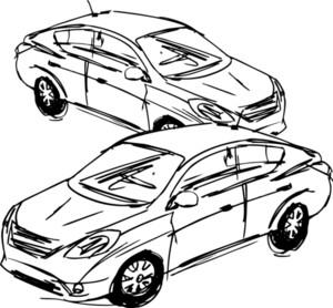 Sketch Of Cars. Vector Illustration