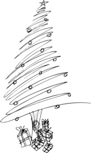 Sketch Of Christmas Tree. Vector Illustration