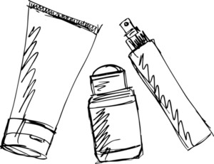 Sketch Of Cosmetics Dispensers And Tube. Vector Illustration