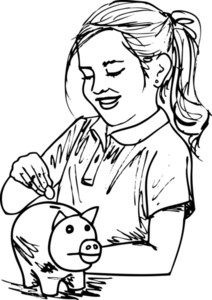 Sketch Of Cute Little Girl With Piggybank