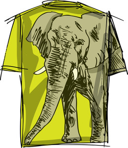 Sketch Of Elephant Tee. Vector Illustration