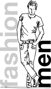 Sketch Of Fashion Handsome Man. Vector Illustration