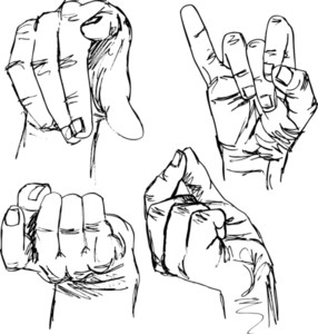 Sketch Of Gestures By Hands. Vector Illustration