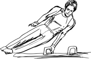 Sketch Of Gymnast Performs On The Pommel Horse. Vector Illustration