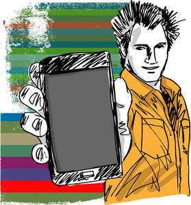 Sketch Of Handsome Guy Showing His Modern Smartphone. Vector Illustration