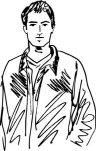 Sketch Of Handsome Man. Vector Illustration