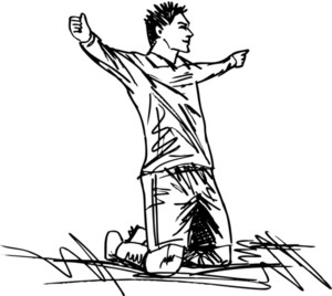 Sketch Of Happy Soccer Player Is Celebrating A Goal. Vector Illustration