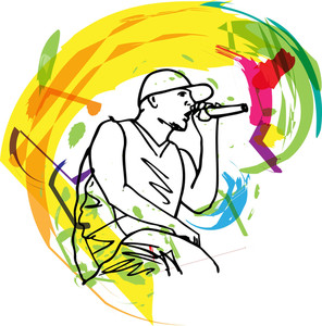 Sketch Of Hip Hop Singer Singing Into A Microphone. Vector Illustration
