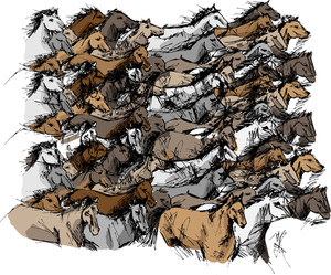 Sketch Of Horses Running